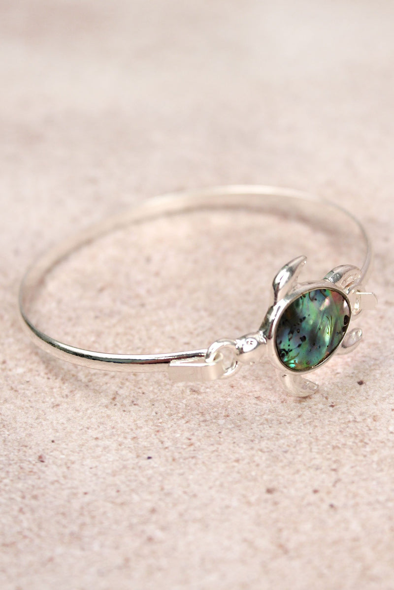 Silvertone and Abalone Turtle Bangle