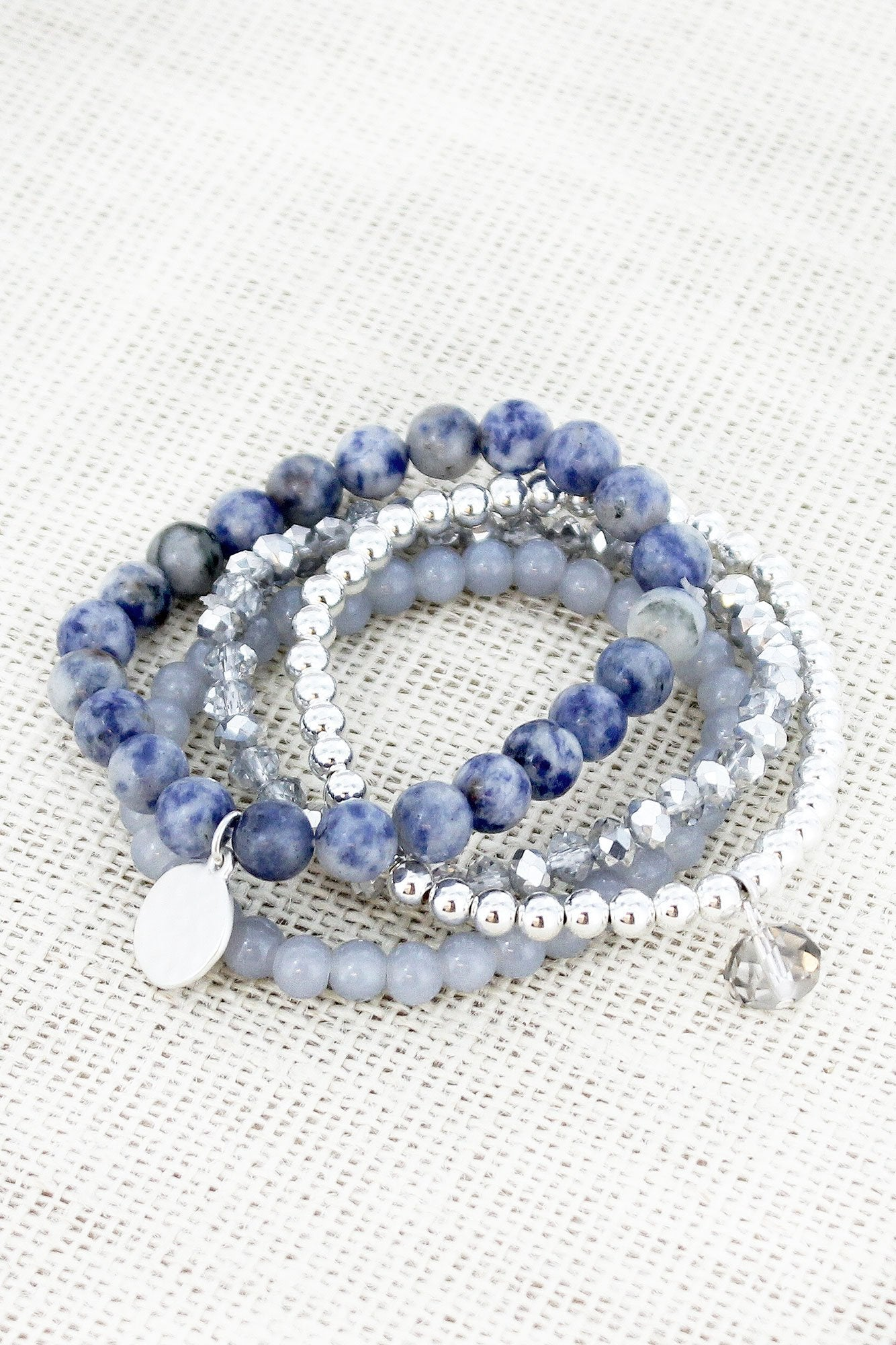 Sodalite and Silvertone Beaded Disk Charm Stretch Bracelet Set