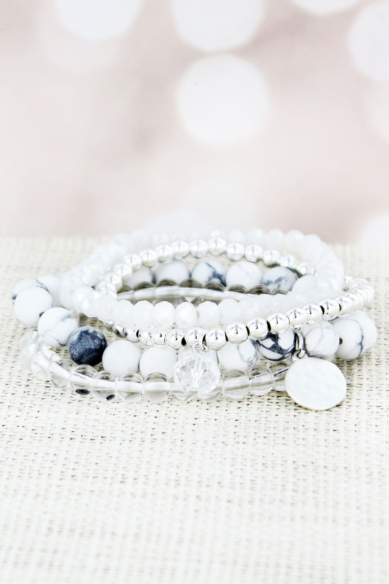 Howlite and Silvertone Beaded Disk Charm Stretch Bracelet Set