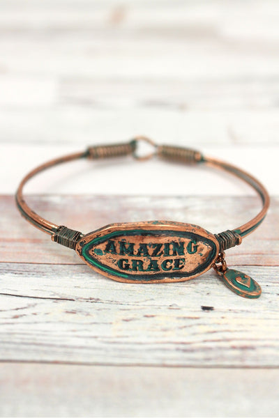 Burnished Coppertone and Patina 'Amazing Grace' Wire Bangle
