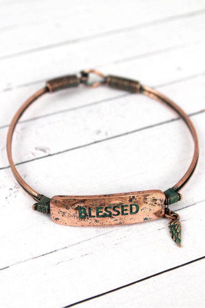 Burnished Coppertone and Patina 'Blessed' Wire Bangle