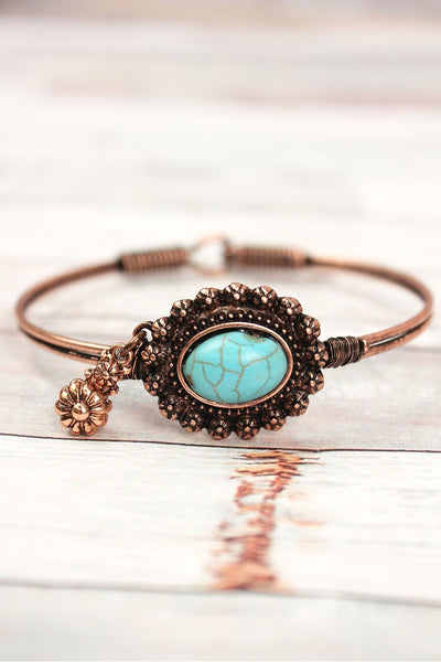 Burnished Coppertone with Turquoise Bead Concho Wire Bangle with Charm