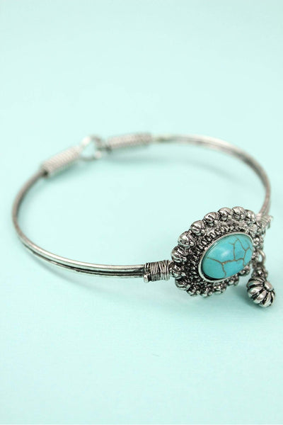 Burnished Silvertone with Turquoise Bead Concho Wire Bangle with Charm
