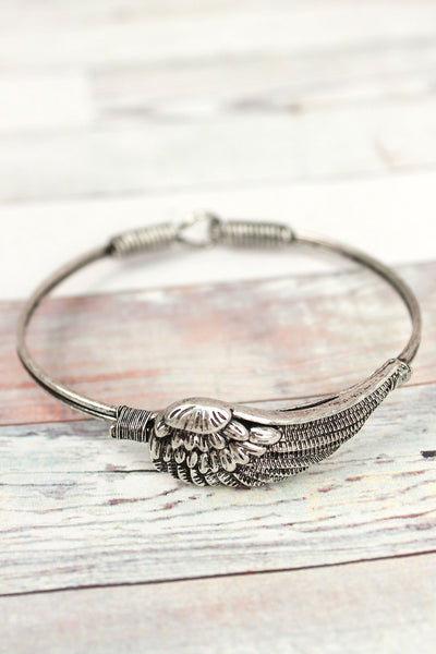 Burnished Silvertone Wing Wire Bangle