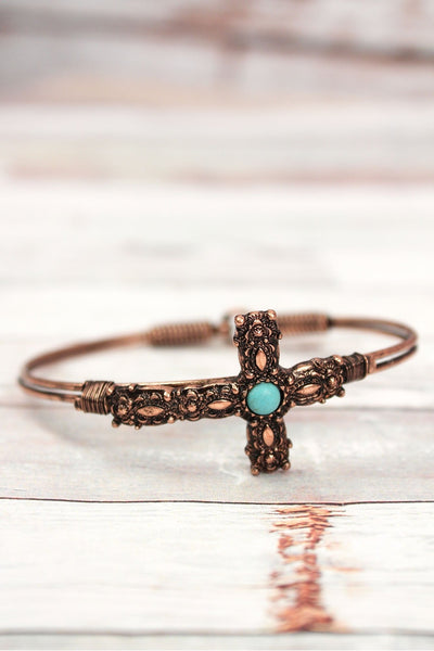 Burnished Coppertone with Turquoise Bead Decorative Cross Wire Bangle