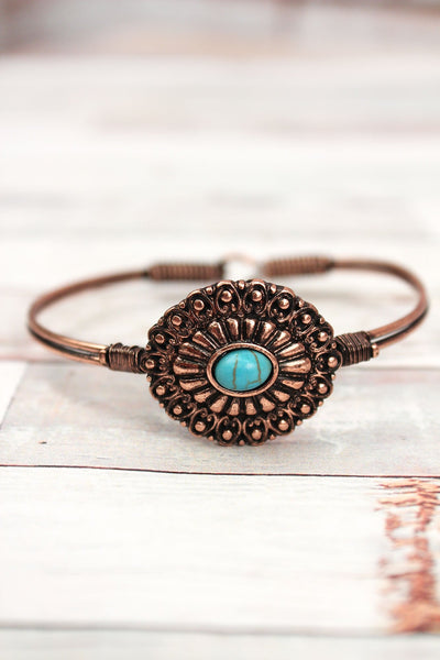 Burnished Coppertone with Turquoise Bead Concho Wire Bangle