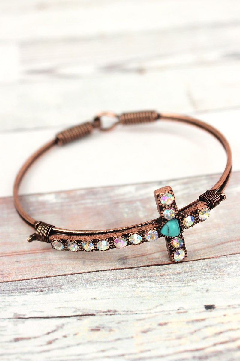Iridescent Crystal Accented Patina Cross Wire Bangle