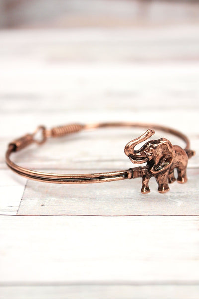Burnished Coppertone Elephant Wire Bangle