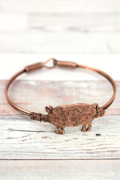 Burnished Coppertone Pig Wire Bangle