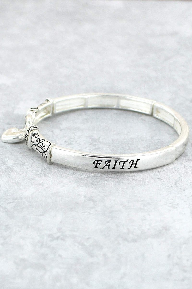 Antique Silvertone 'Faith Hope Love' Stretch Bracelet with Heart Charm