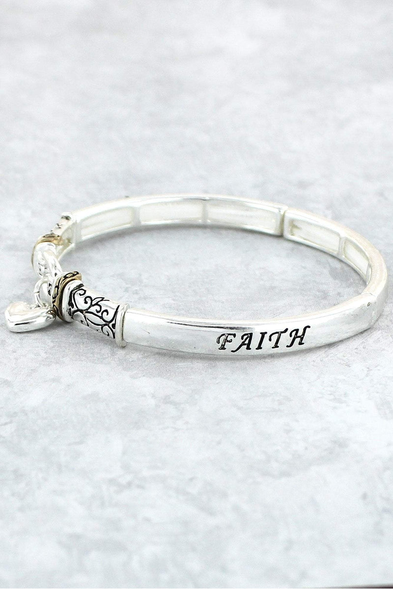 Two-Tone 'Faith Hope Love' Stretch Bracelet with Heart Charm