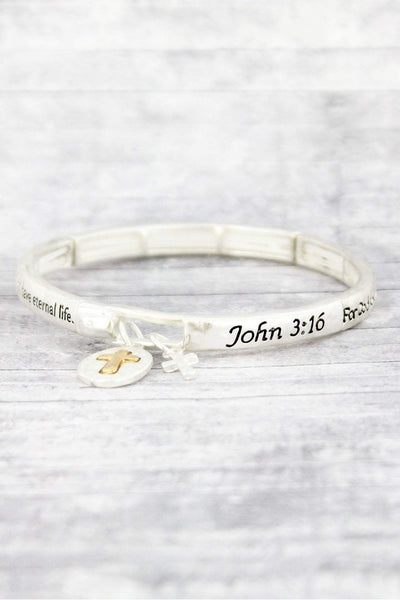 Worn Two-Tone 'John 3:16' Stretch Bracelet with Cross Charms