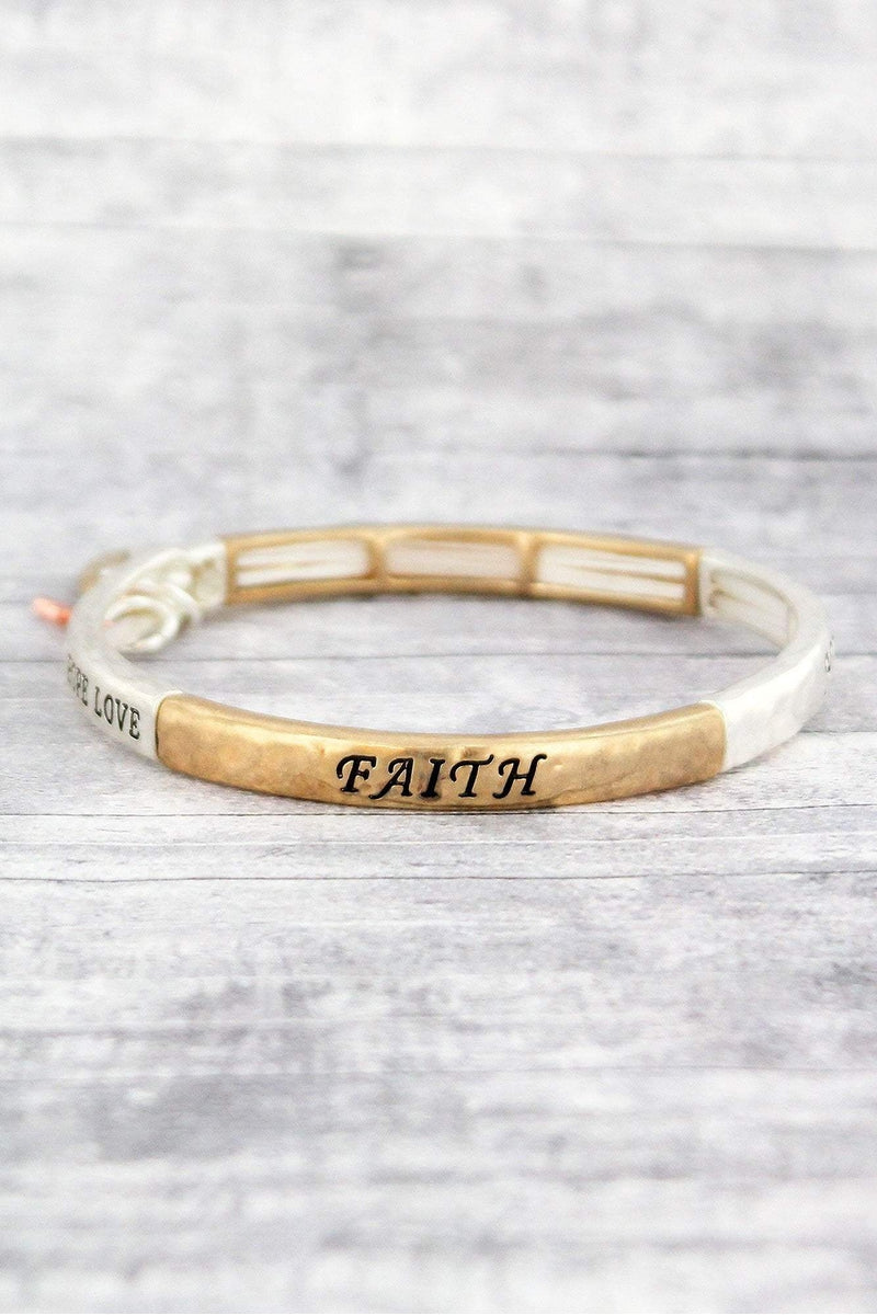 Worn Tri-Tone 'Faith Hope Love' Stretch Bracelet with Cross Charms