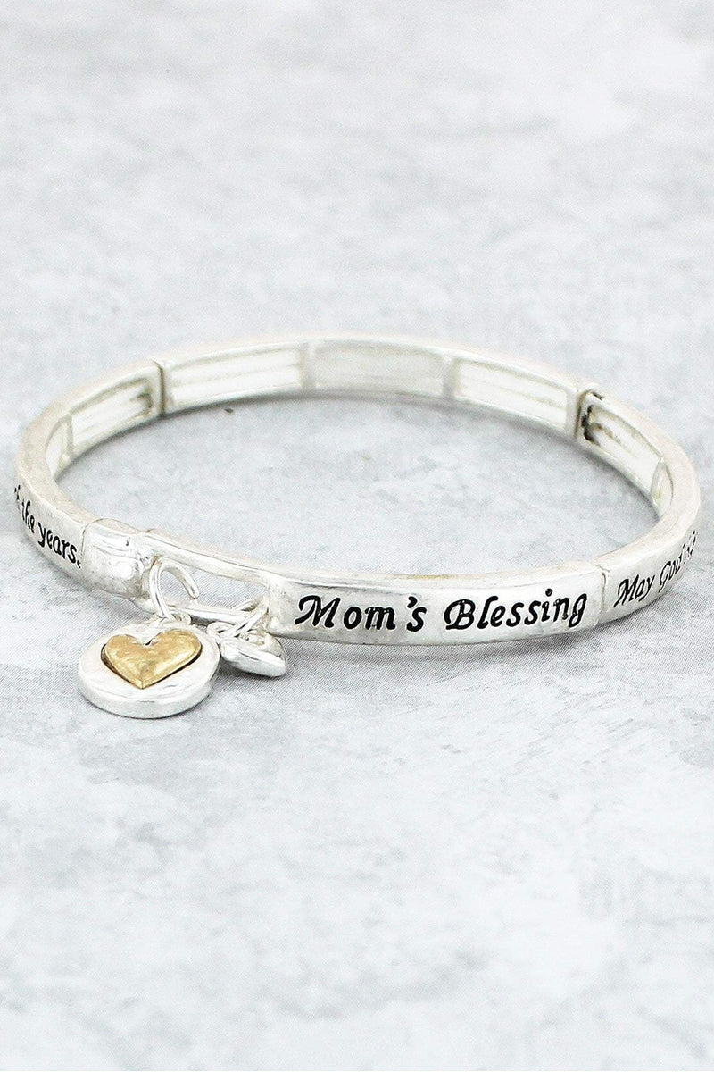 Worn Two-Tone 'Mom's Blessing' Stretch Bracelet with Heart Charms