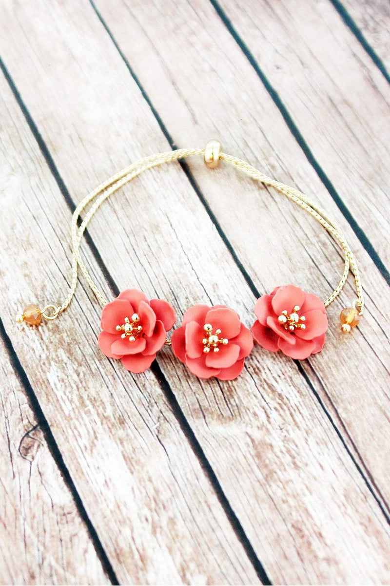 Coral and Goldtone Triple Flower Adjustable Bracelet