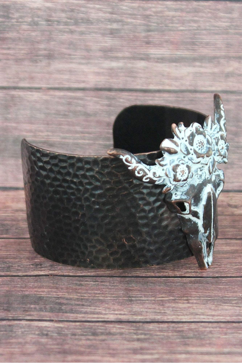 White Patina Floral Wreath Steer Head Cuff Bracelet