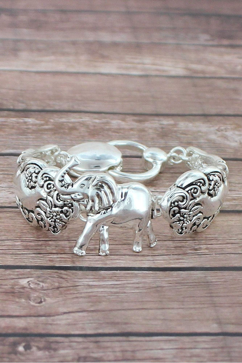 Antique Silvertone Elephant Spoon Bracelet