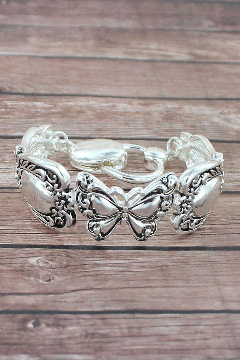 Antique Silvertone Butterfly Spoon Bracelet
