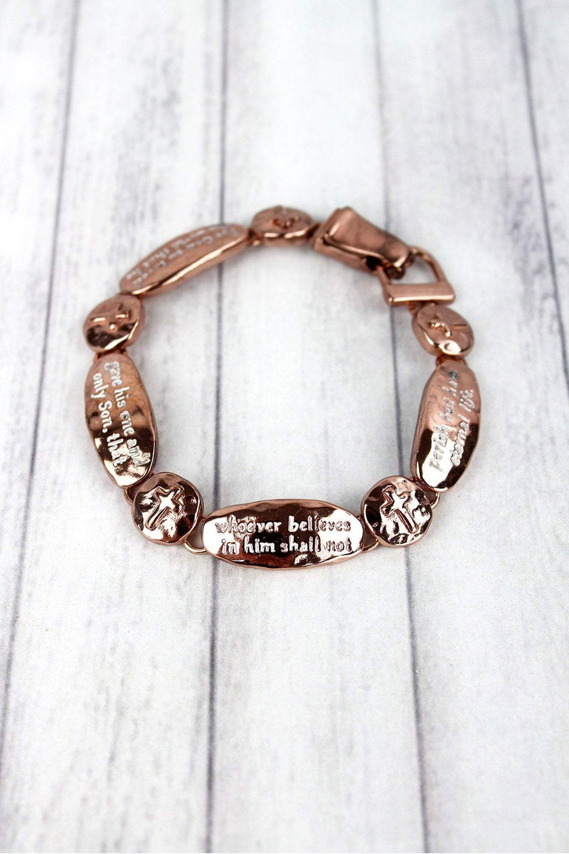 Coppertone John 3:16 Oval and Cross Disk Magnetic Bracelet