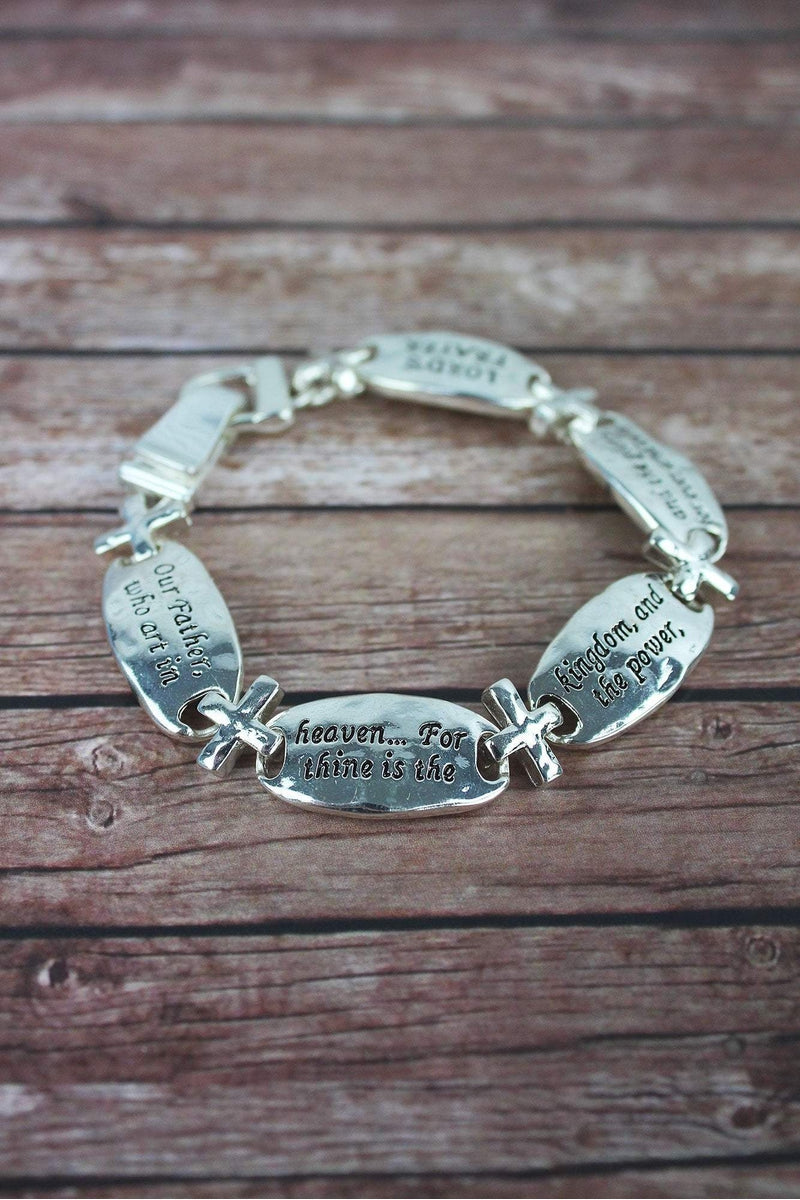 Silvertone Lord's Prayer Oval and Cross Magnetic Bracelet