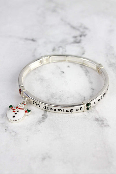 White Christmas Bangle with Snowman Charm