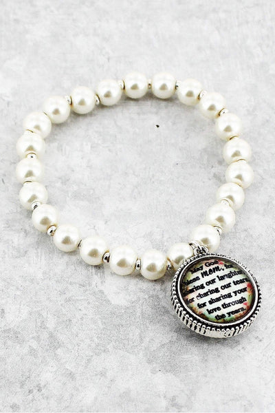 Mom's Blessing Bubble Charm Pearl Stretch Bracelet