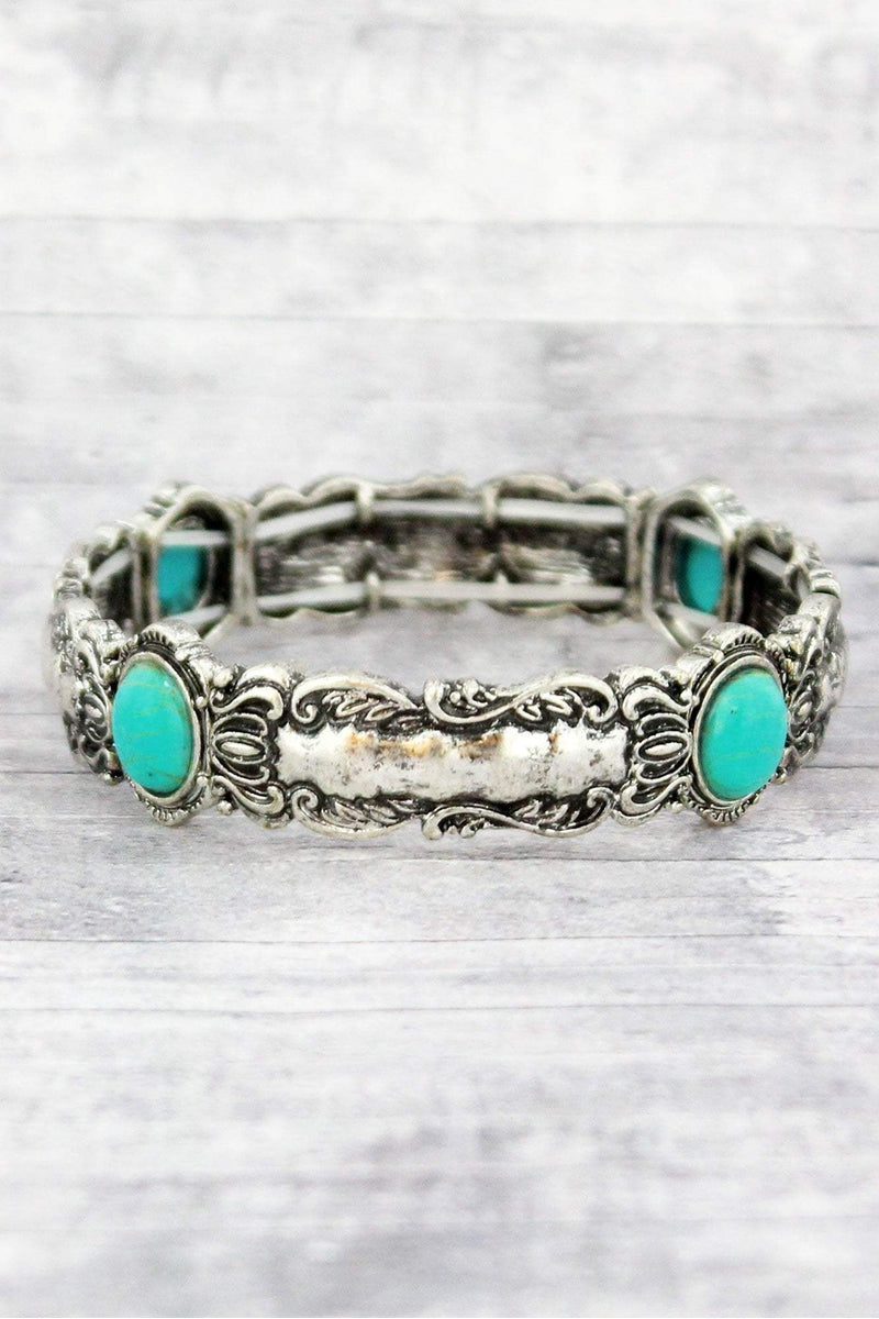 Wholesale western jewelry burnished silvertone and turquoise bead scroll spoon stretch bracelet aloadofball Choice Image