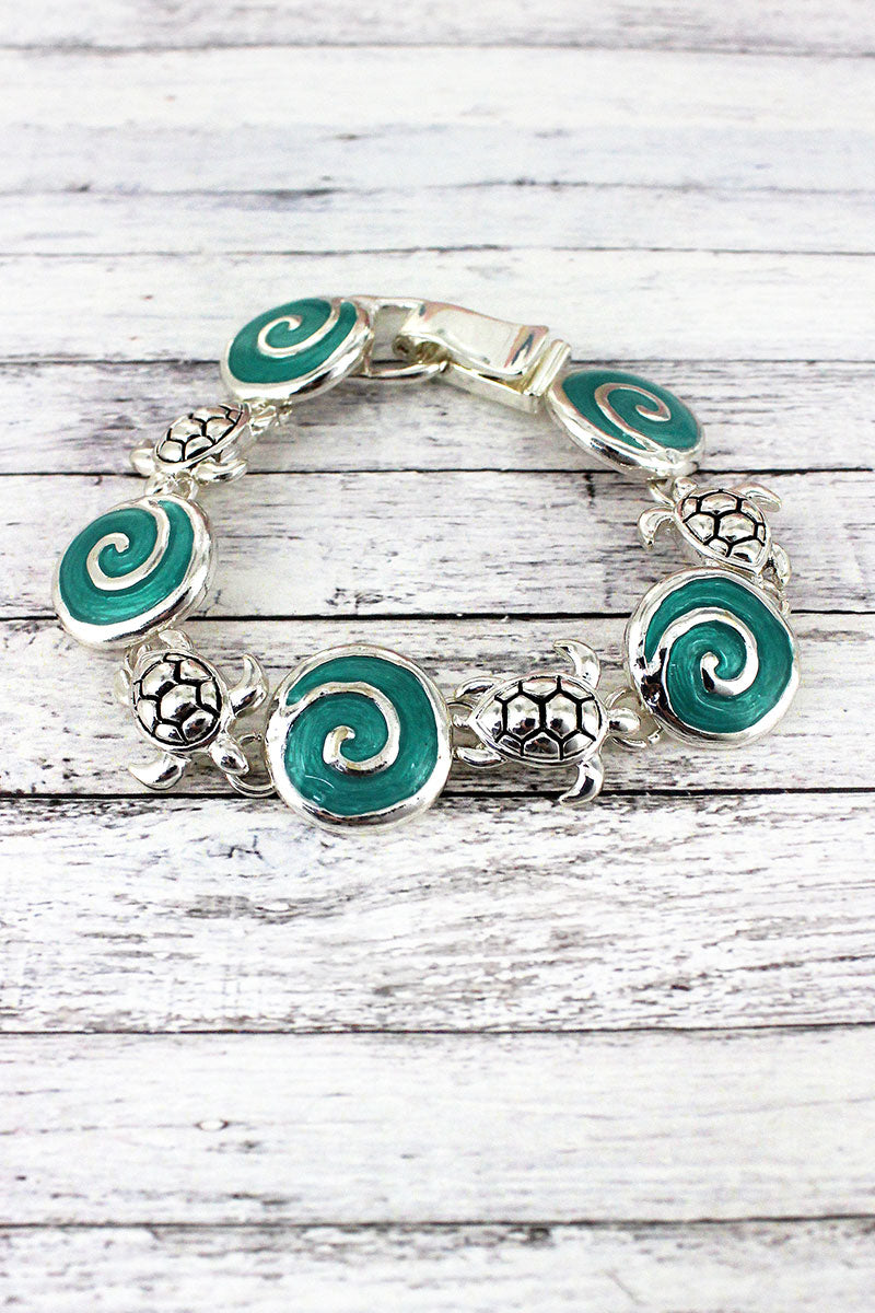 Silvertone Turtle and Aqua Sea Glass Swirl Magnetic Bracelet