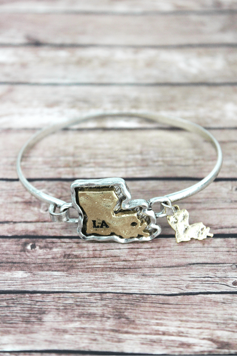 Hammered Two-Tone Louisiana Bracelet