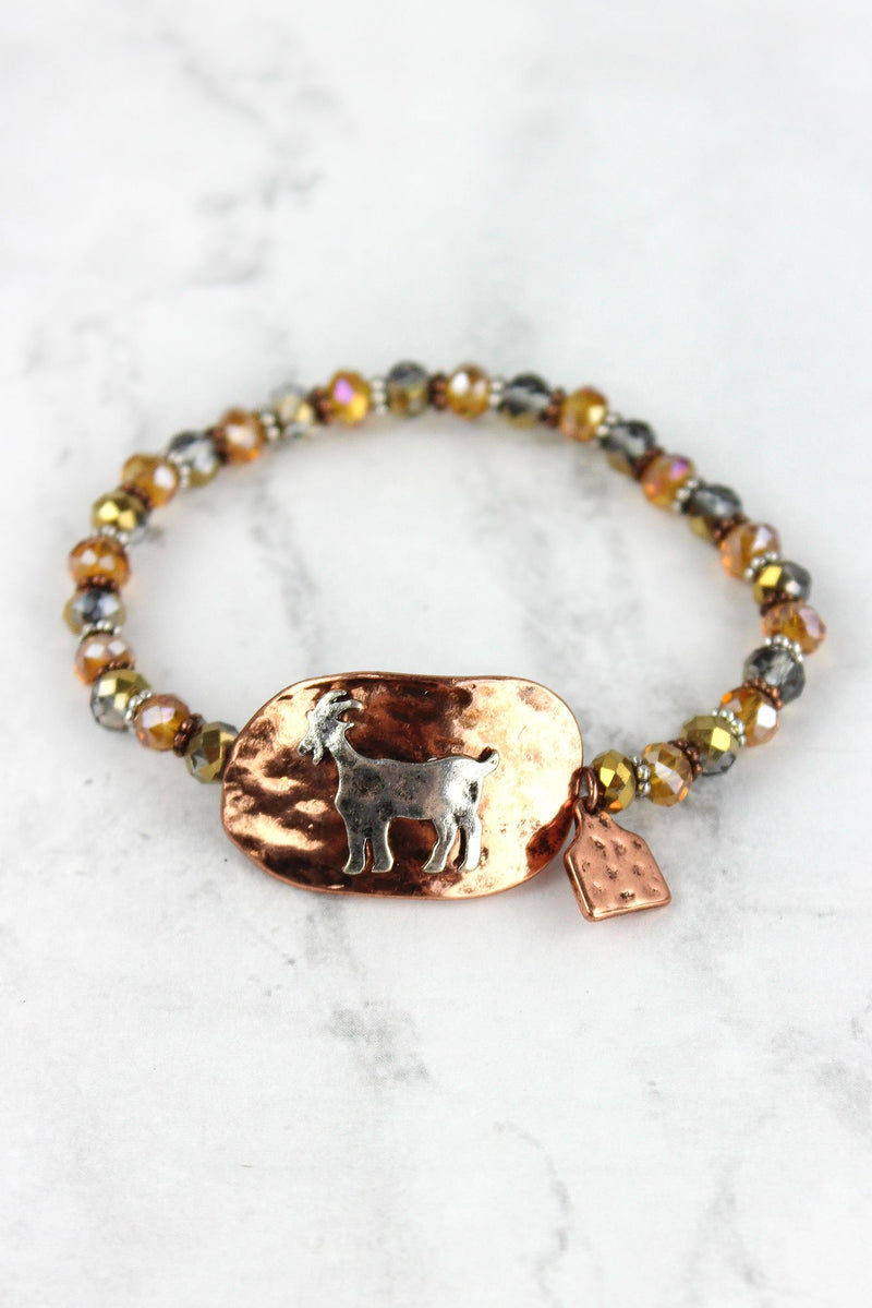 Burnished Coppertone and Silvertone Goat Disk Beaded Bracelet