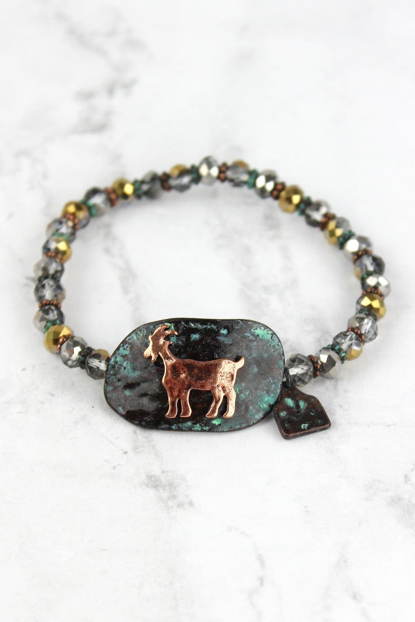 Patina and Burnished Coppertone Goat Disk Beaded Bracelet