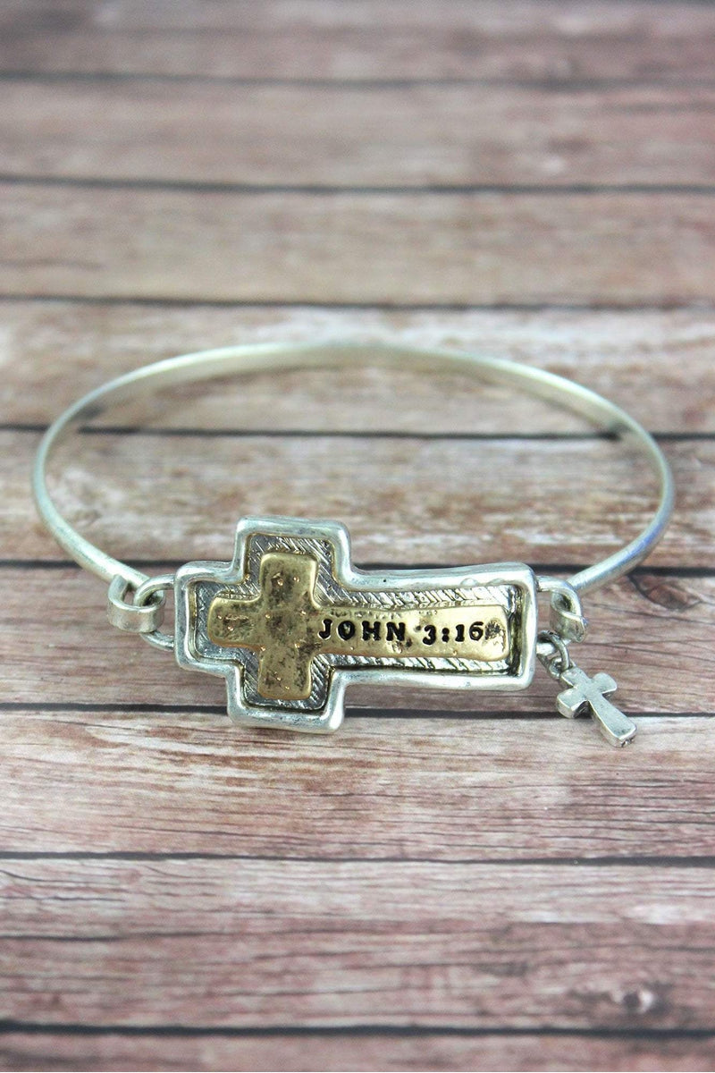 Hammered Two-Tone 'John 3:16' Cross Bracelet