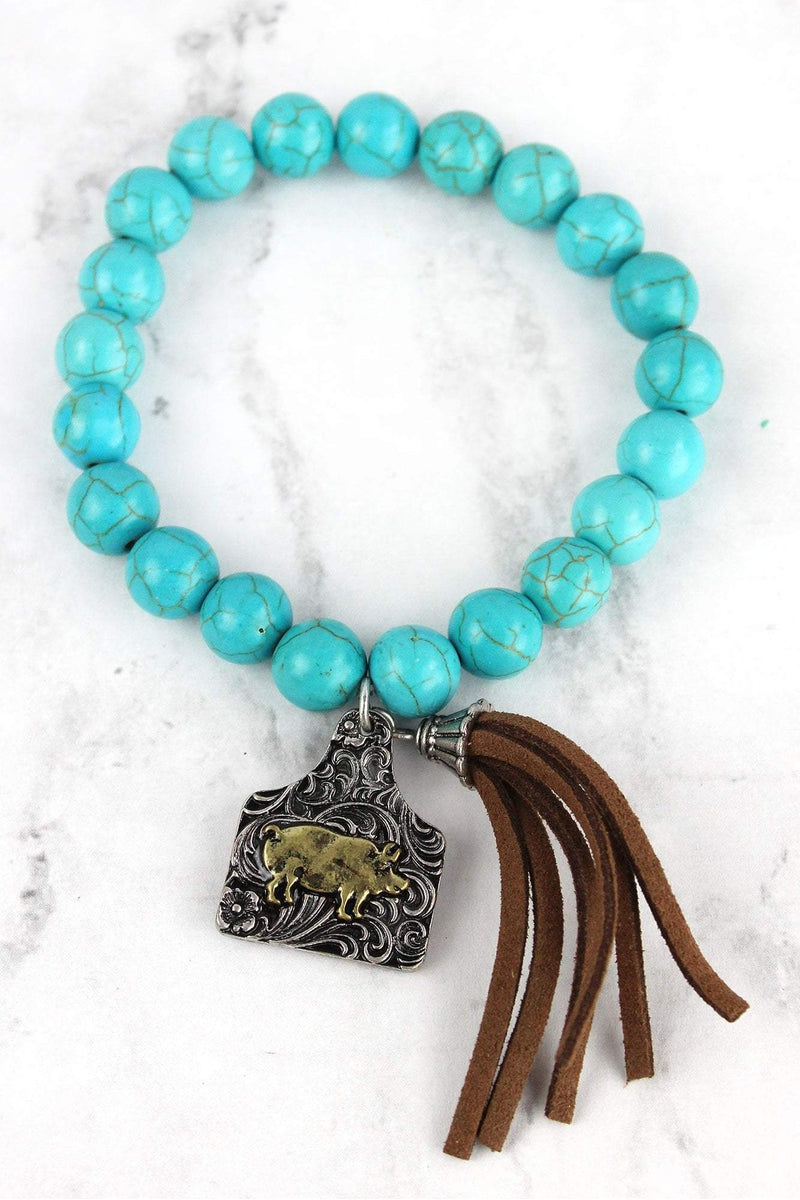 Two-Tone Pig Tag & Tassel Charm Turquoise Beaded Bracelet
