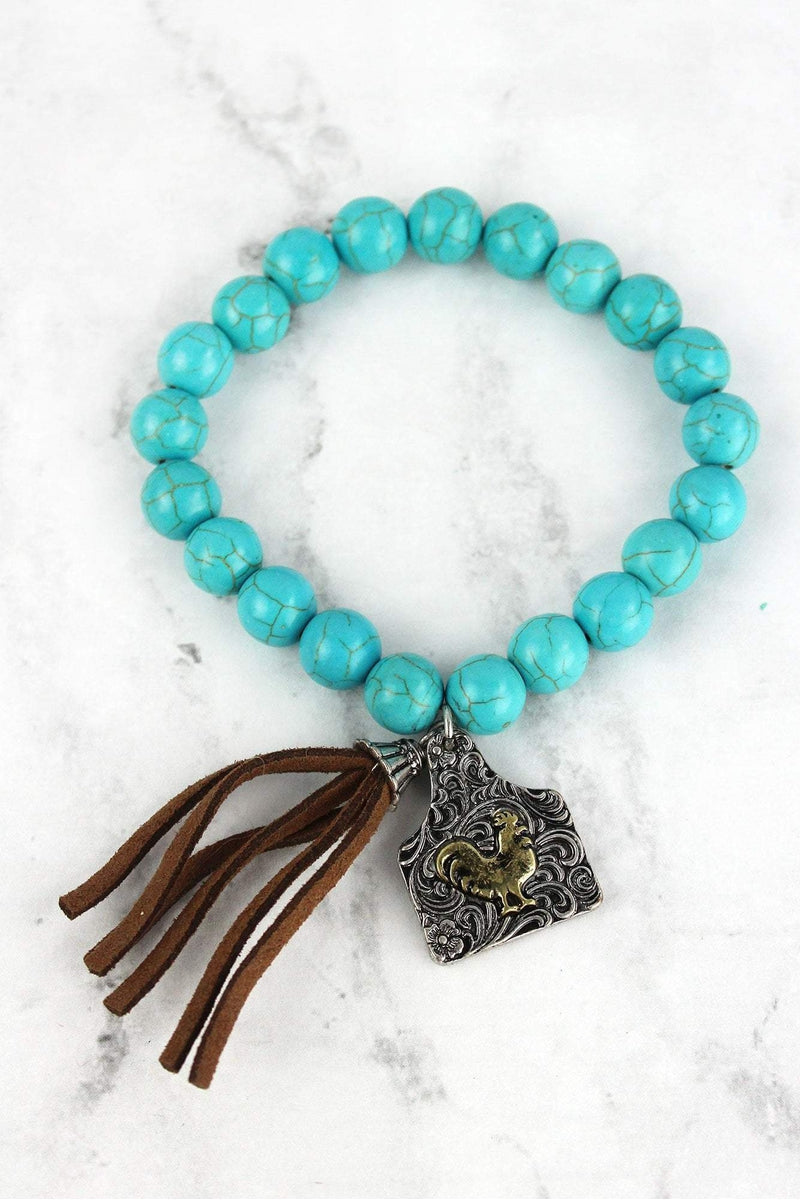 Two-Tone Rooster Tag & Tassel Charm Turquoise Beaded Bracelet