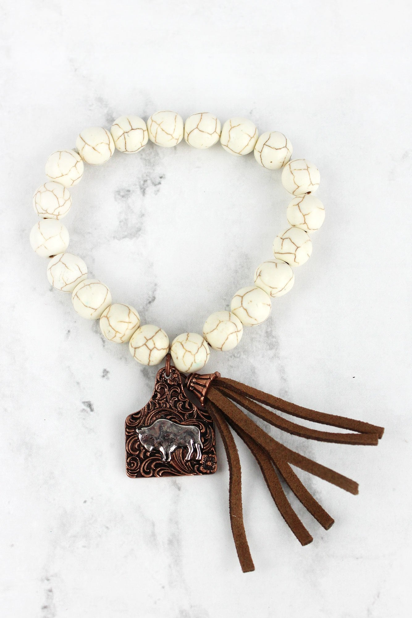 Two-Tone Buffalo Tag & Tassel Charm Howlite Beaded Bracelet