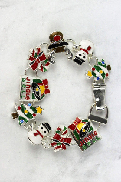 Christmas Themed Silvertone Magnetic Bracelet