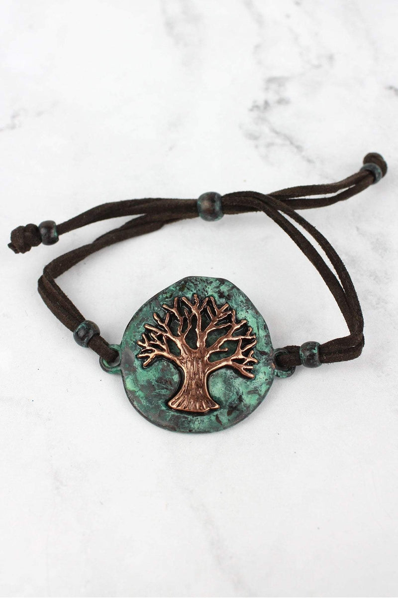Patina and Coppertone Tree of Life Dark Brown Cord Bracelet