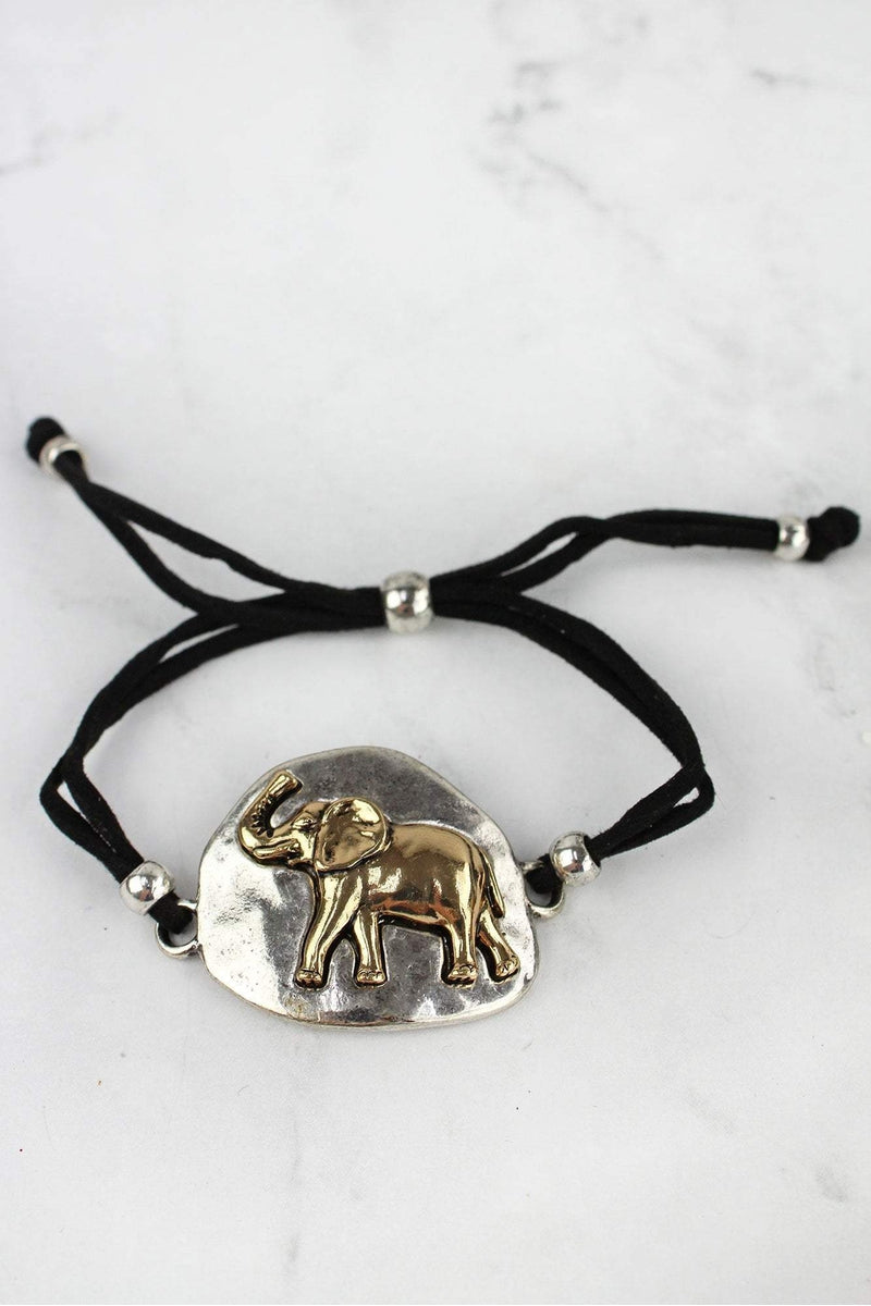 Silvertone and Goldtone Elephant Black Cord Bracelet
