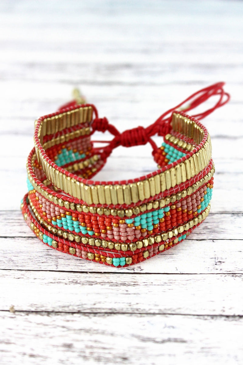 Coral Multi-Color Triangle Seed Bead Shredded Cord Bracelet