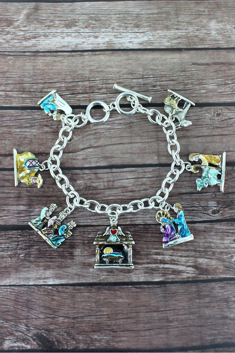 Nativity Charm Toggle Bracelet