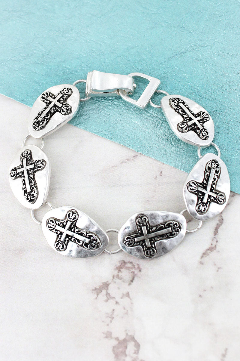Hammered Silvertone Sideways Cross Disk Magnetic Bracelet