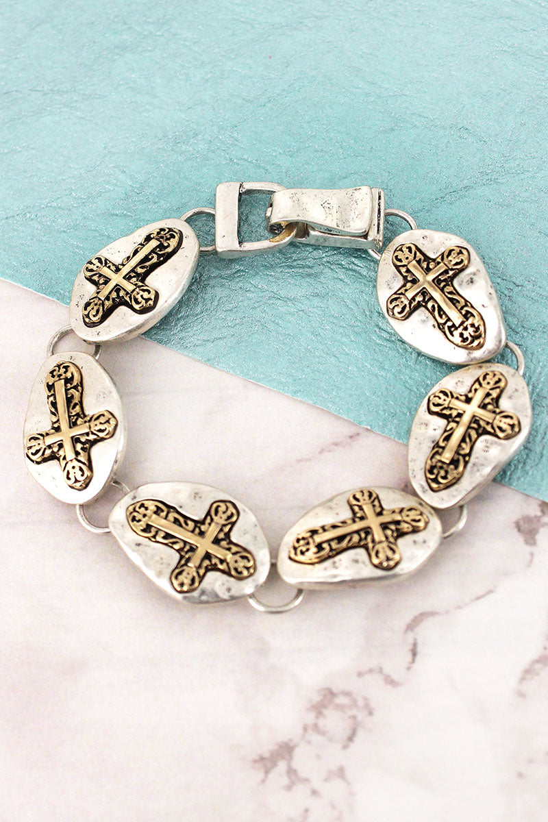Hammered Two-Tone Sideways Cross Disk Magnetic Bracelet