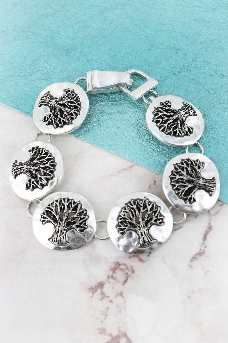 Hammered Silvertone Tree of Life Disk Magnetic Bracelet