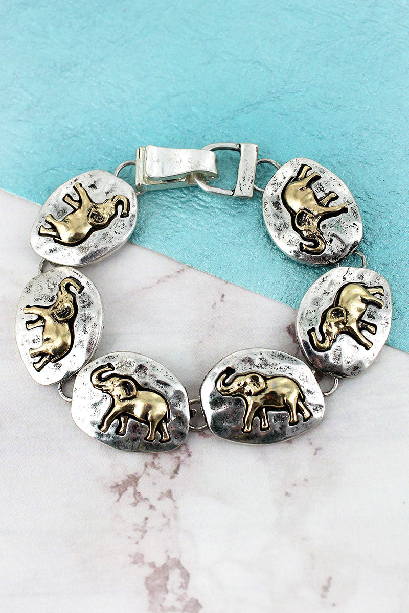 Hammered Two-Tone Elephant Disk Magnetic Bracelet