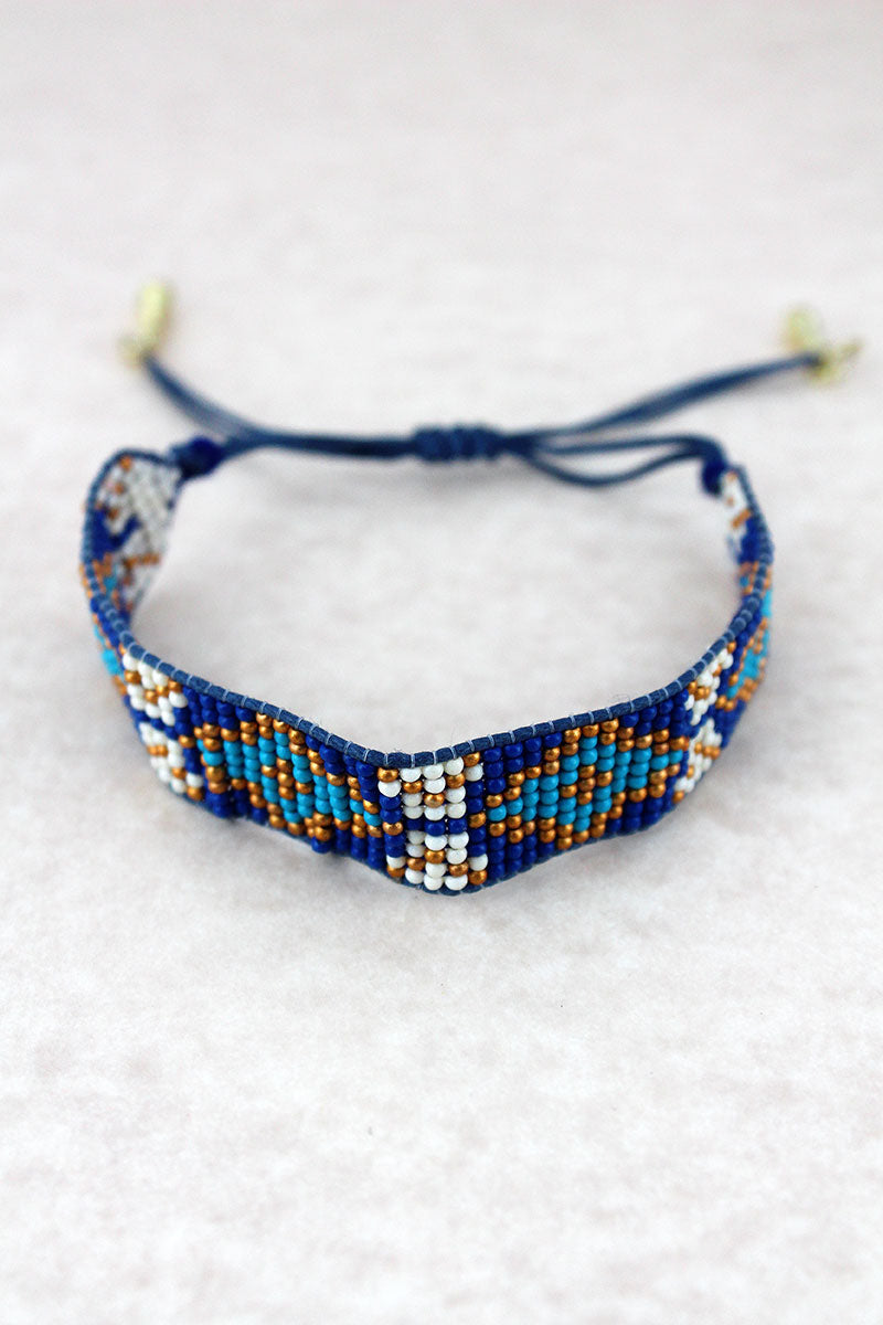 Blue Multi-Color Diamond Seed Bead Cord Bracelet