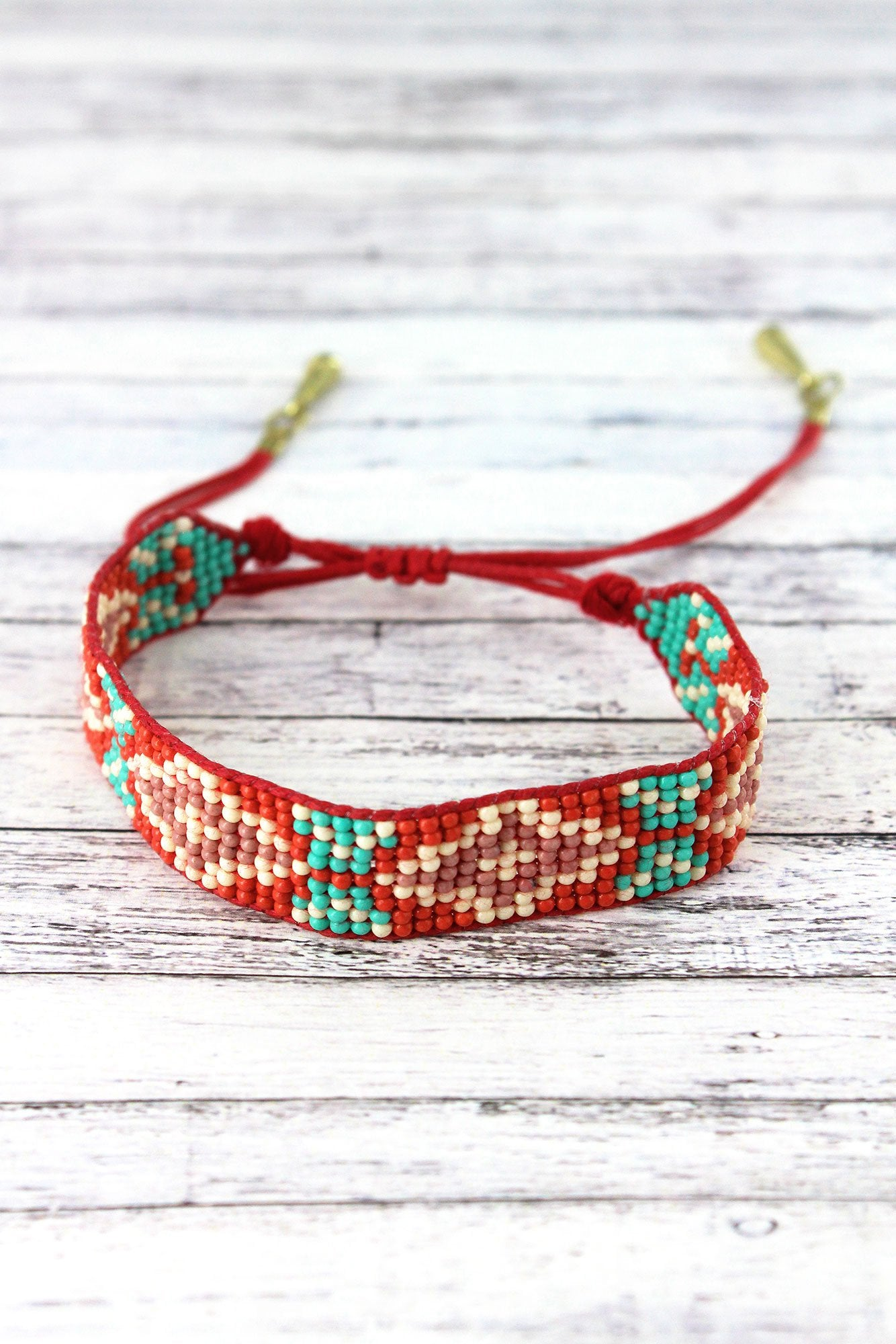 Coral Multi-Color Diamond Seed Bead Cord Bracelet