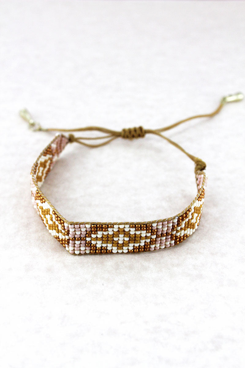 Mustard Yellow Multi-Color Diamond Seed Bead Cord Bracelet