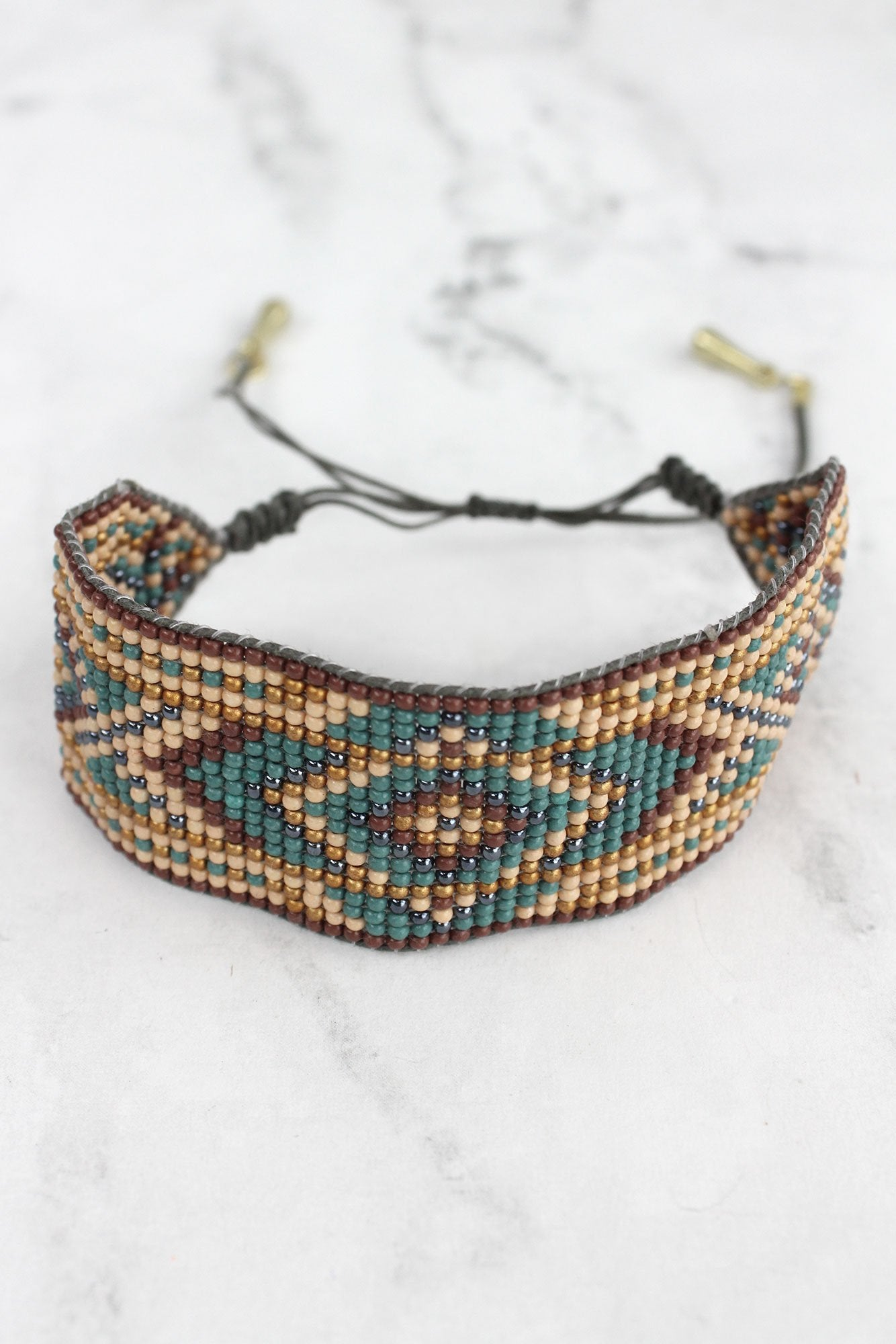 Brown Multi-Color Southwestern Diamond Seed Bead Cord Bracelet