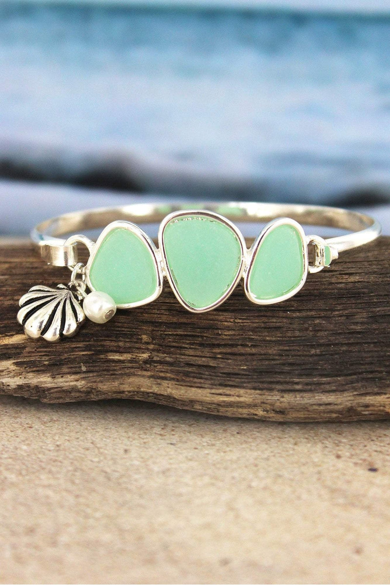 Turquoise Sea Glass Stone with Silvertone Seashell Charm Bracelet