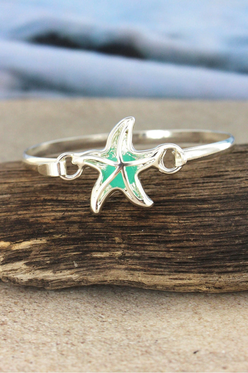 Cut-Out Silvertone and Sea Glass Starfish Bracelet